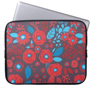 Doodle floral pattern laptop computer sleeves