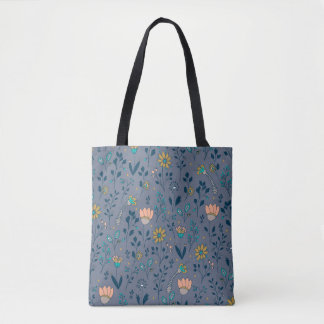 Doodle floral pattern on blue field tote bag