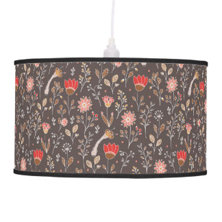 Doodle floral pattern on brown field hanging pendant lamp