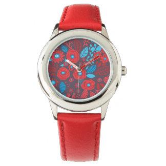 Doodle floral pattern wrist watch