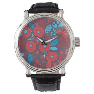 Doodle floral pattern wristwatch