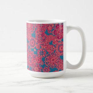 Doodle flower patterned mug. basic white mug