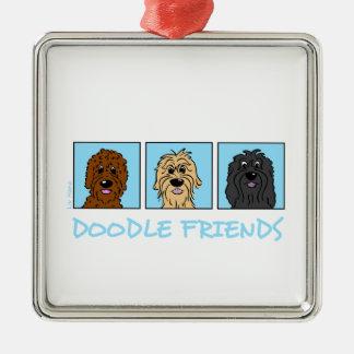 Doodle Friends Metal Ornament