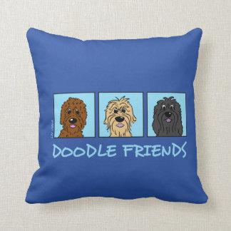 Doodle Friends Throw Pillow