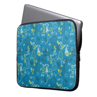 Doodle girly blue for baby hand drawn pattern laptop sleeve