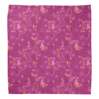 Doodle girly pink for baby hand drawn pattern bandanna