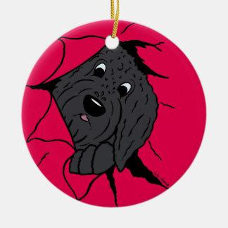 Doodle head black ceramic ornament