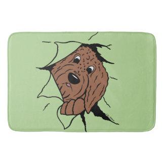 Doodle head brown bath mat