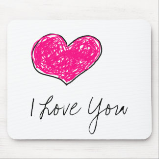 Doodle Heart Mouse Pad