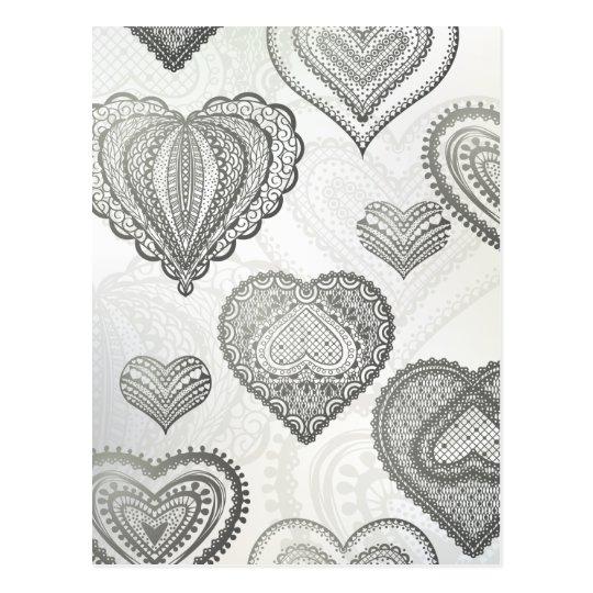 Doodle & lace grey hearts postcard