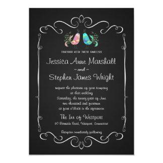 Doodle Lovebirds Chalkboard Wedding Card