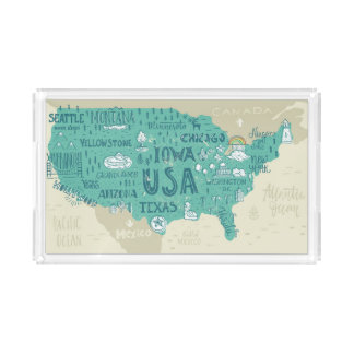 Doodle Map Of USA Acrylic Tray