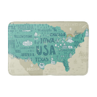 Doodle Map Of USA Bath Mat