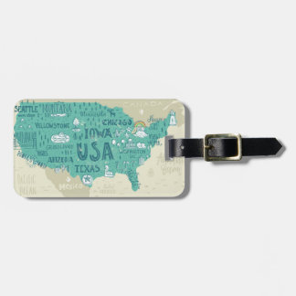 Doodle Map Of USA Luggage Tag