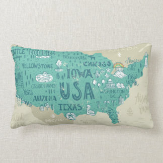 Doodle Map Of USA Lumbar Pillow