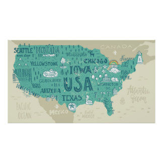 Doodle Map Of USA Poster
