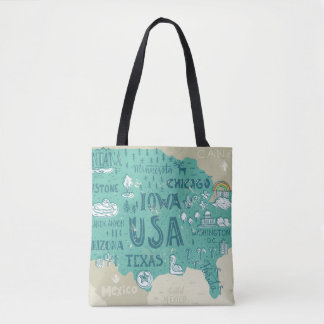 Doodle Map Of USA Tote Bag