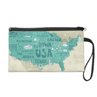 Doodle Map Of USA Wristlet Clutch