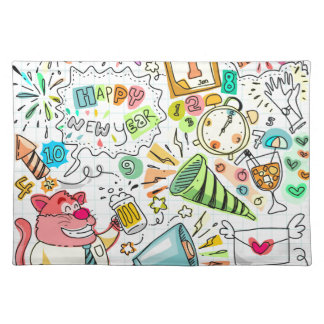 doodle new year party celebration placemat
