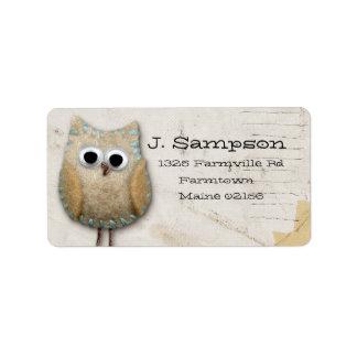 doodle owl address label
