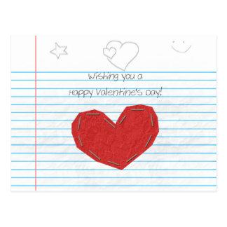 Doodle paper Valentine Postcard