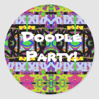 Doodle Party Classic Round Sticker