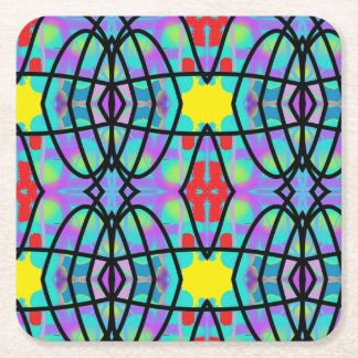 Doodle Party Square Paper Coaster