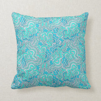 Doodle pattern. Blue marble texture Throw Pillow