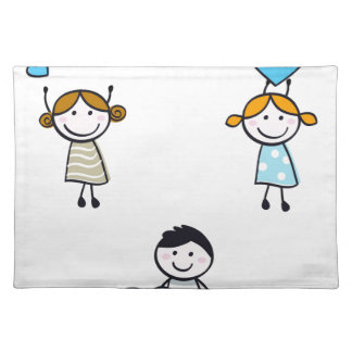 DOODLE SCHOOL KIDS WITH HEARTS PLACEMAT