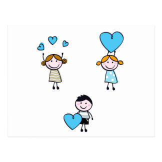 DOODLE SCHOOL KIDS WITH HEARTS POSTCARD