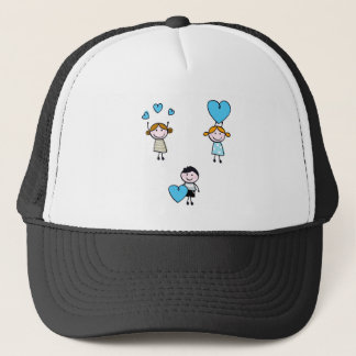 DOODLE SCHOOL KIDS WITH HEARTS TRUCKER HAT