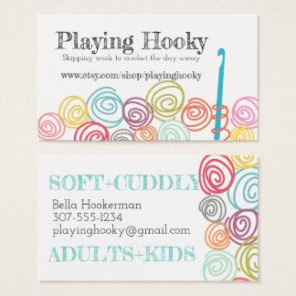 Doodle scribble yarn crochet hook business card
