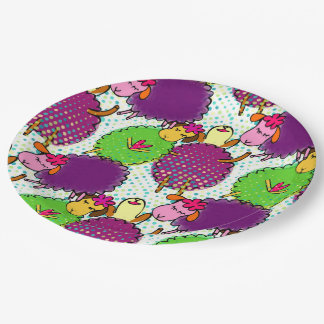 Doodle sheep with retro halftones. Themed party. 9 Inch Paper Plate