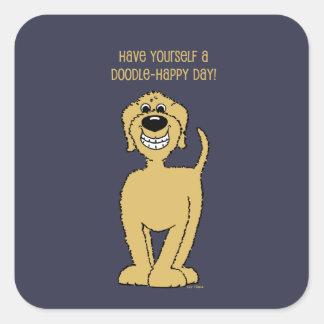 Doodle Smile blond Square Sticker
