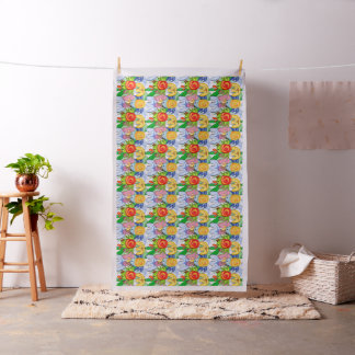 Doodle spring birds, bright kid's themed design fabric