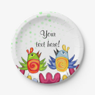 Doodle spring birds themed design 7 inch paper plate