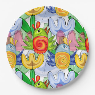 Doodle spring birds themed design 9 inch paper plate