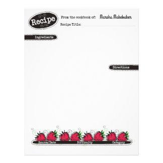 doodle strawberries fruit baking recipe letterhead
