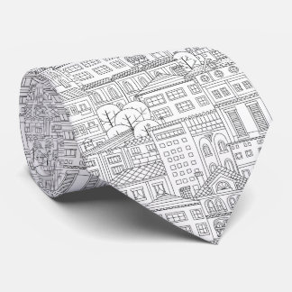 Doodle town pattern tie