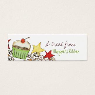 doodle watercolor cupcake Christmas holiday gif... Mini Business Card
