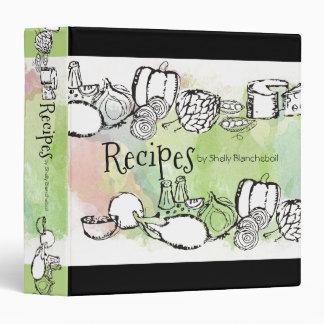 Doodle watercolor fruit vegetables recipe cookbook binders