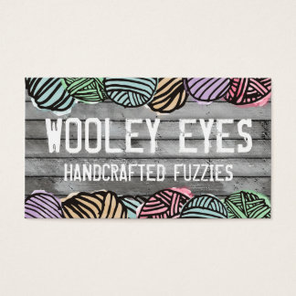 Doodle watercolor yarn knitting crochet business card