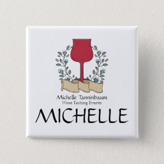 Doodle wine glass wine tasting sommelier 2 inch square button