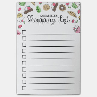 Doodled Desserts Checkbox Shopping List Post-it Notes