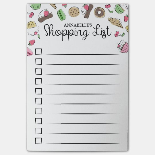 Doodled Desserts Checkbox Shopping List Post-it® Notes