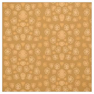 Doodled Flowers - Orange Fabric