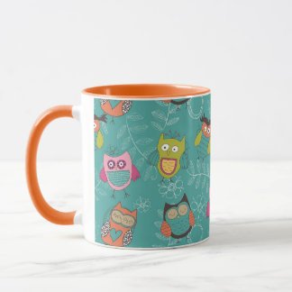 Doodled Owls on Teal Mug