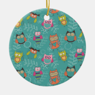 Doodled Owls on Teal Round Ceramic Ornament
