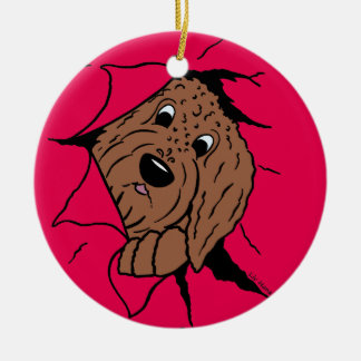 Doodles are just like that! round ceramic ornament