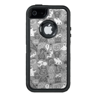 doodles pattern illustration OtterBox defender iPhone case